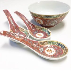 Chinese rice or soup matching bowl and spoon set